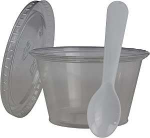 Disposable Clear 4oz Plastic Condiment Cups with Lids and 3