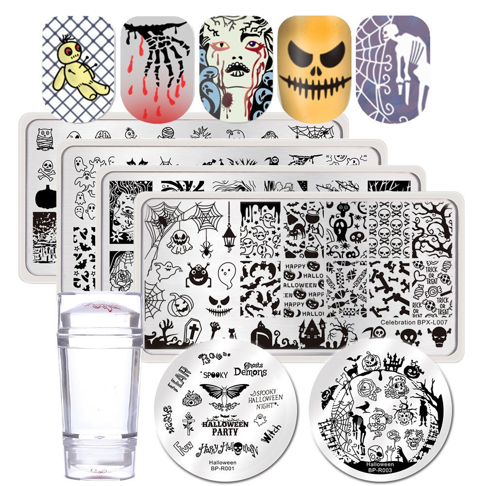 BORN PRETTY Nail Art Stamping Templates Halloween Zombie Bride Spider Castle 6Pcs Stamp Plates With Stamper Kit