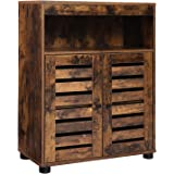 VASAGLE Bathroom Storage Cabinet, Cupboard with Louvered Doors, Rustic Design, Open Compartments, Adjustable Shelf, 23.6…
