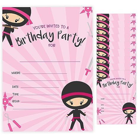 Amazon.com: Ninja – Tarjetas de invitación de cumpleaños con ...