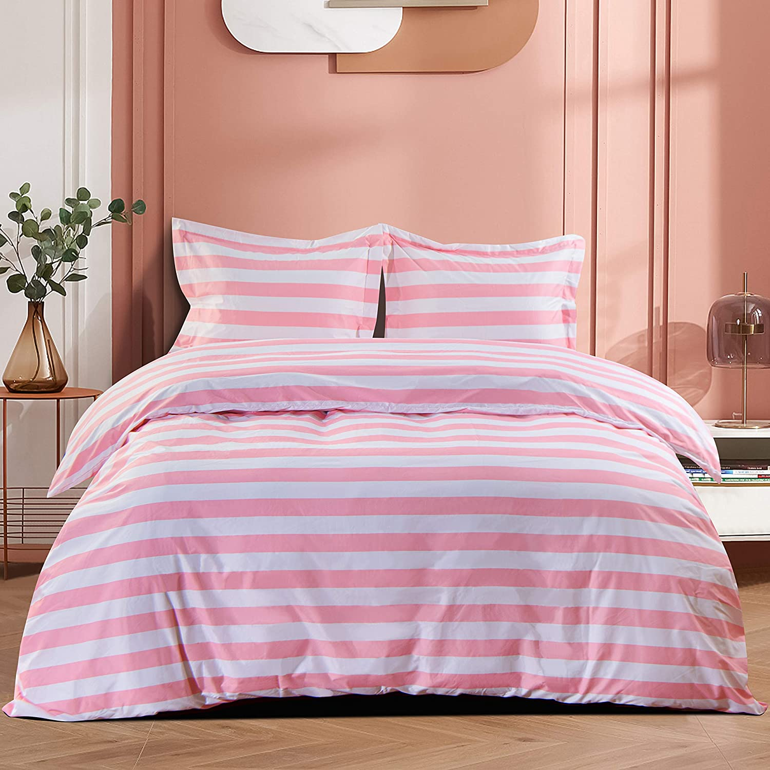 NTBAY Microfiber Twin Duvet Cover Set, 2 Pieces Ultra Soft Stripe Printed Comforter Cover Set with Zipper Closure and Corner Ties for Kids, Pink and White