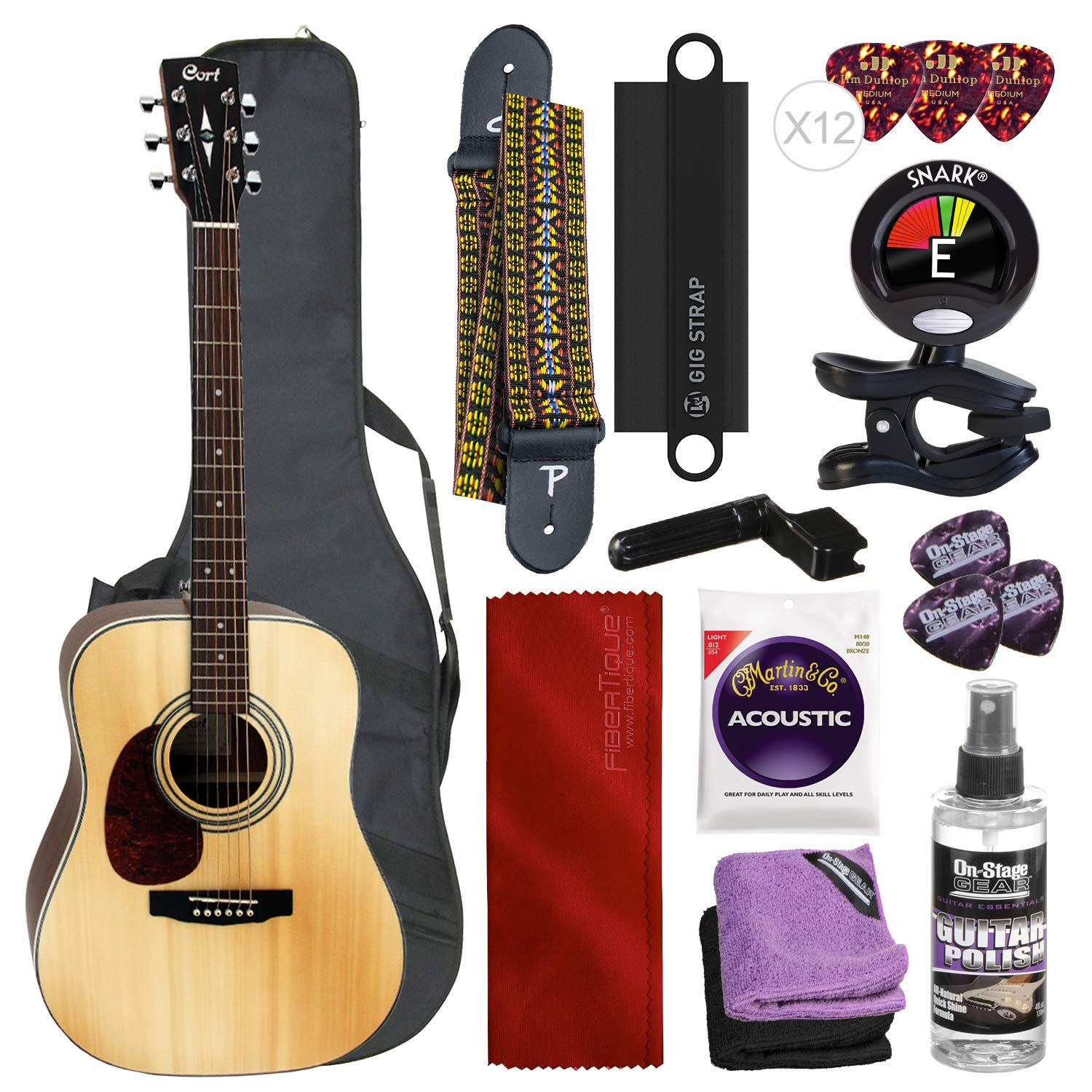 Cort Earth Series Earth70 Dreadnought Acoustic Guitar with Gig Bag, Tuner, Strings, Picks and Deluxe Bundle by Cort