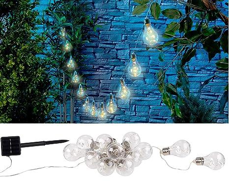 Led Lichterkette Solar Warmweiß.Lunartec Garten Deko Solar Led Lichterkette Im Gluhbirnen Look 12 Birnen Warmweiss 8 5 M Solar Lichterkette Aussen