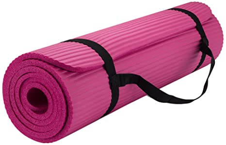 New Life Yoga Mat with Carrying Travel Bag and Strap, NBR Multiple Use Exercise and Yoga Mat, Pink