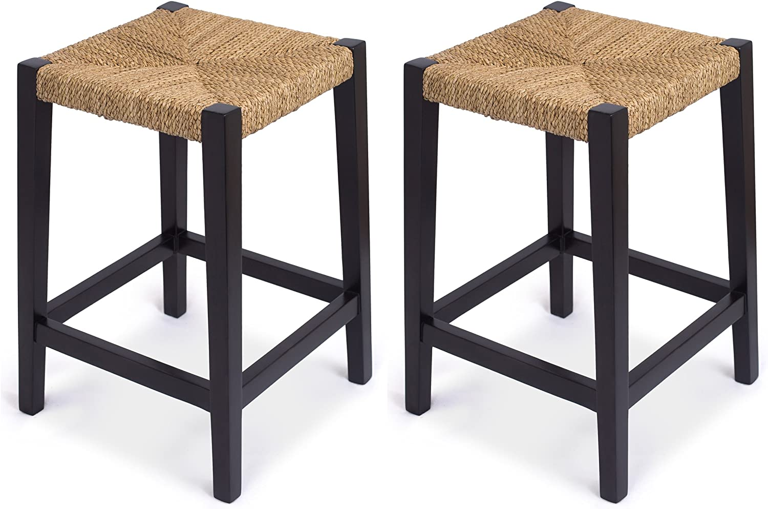 BirdRock Home Rush Weave Backless Counter Stool – Set of 2-24 Inch Counter Height – Traditionally Woven Kitchen Dining Room Counter Stool Chair – Wooden Furniture – Fully Assembled – Black Finish