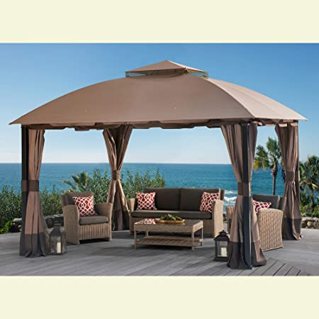 Amazon Com Sunjoy 110109123 Original Replacement Canopy For South Hampton Gazebo 11x13 Ft L Gz659pst Sold At Biglots Brown Garden Outdoor