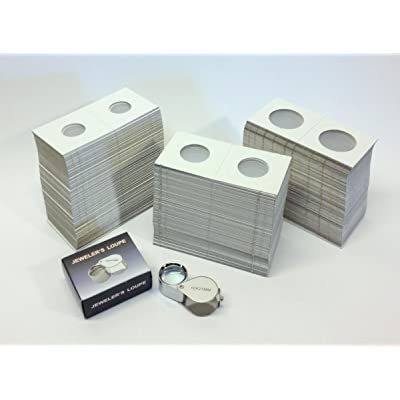 Hobbymaster Cardboard Coin Holders (Coin Flips) - 300 Assorted Sizes Plus 10x21 Loupe Magnifier: Toys & Games