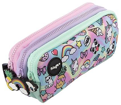 Estuche para lápices de 3 compartimentos FRINGOO, para niños, divertido y bonito, color Holo Doodle - 3 Compartments Large