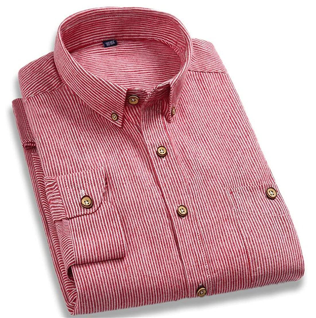 Domple Men Stylish Striped Lapel Button Down Cotton Casual Business Shirts