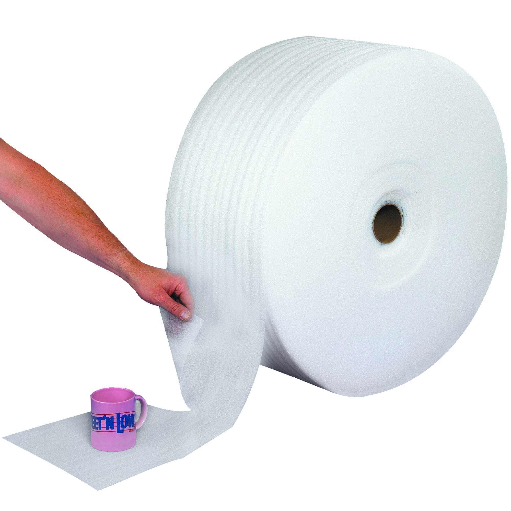 Ship Now Supply SNFWUPS116S24P Upsable Perforated Air Foam Rolls, 1/16'' x 24'' x 900', 24'' width, 0.063'' Height, White