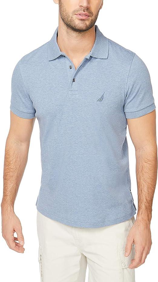 Nautica Mens Slim Fit Short Sleeve Solid Soft Cotton Polo Shirt Shipwreck