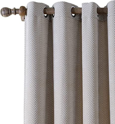 ChadMade Extra Wide Polyester Chenille Jacquard Eyelet Grommet Zig Zag Wave Soft Handfeel Panel Curtain Drapes 1 Panel Beige 120Wx102L Inch
