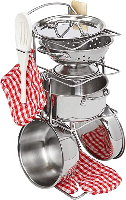 Amazon Com Giantville Toy Kitchen Play Set 10 Piece Bundle Stainless Steel Pots Pans And Skillets Wooden Spoons And Utensils Pot Holders And Storage Caddy Rack Toys Games