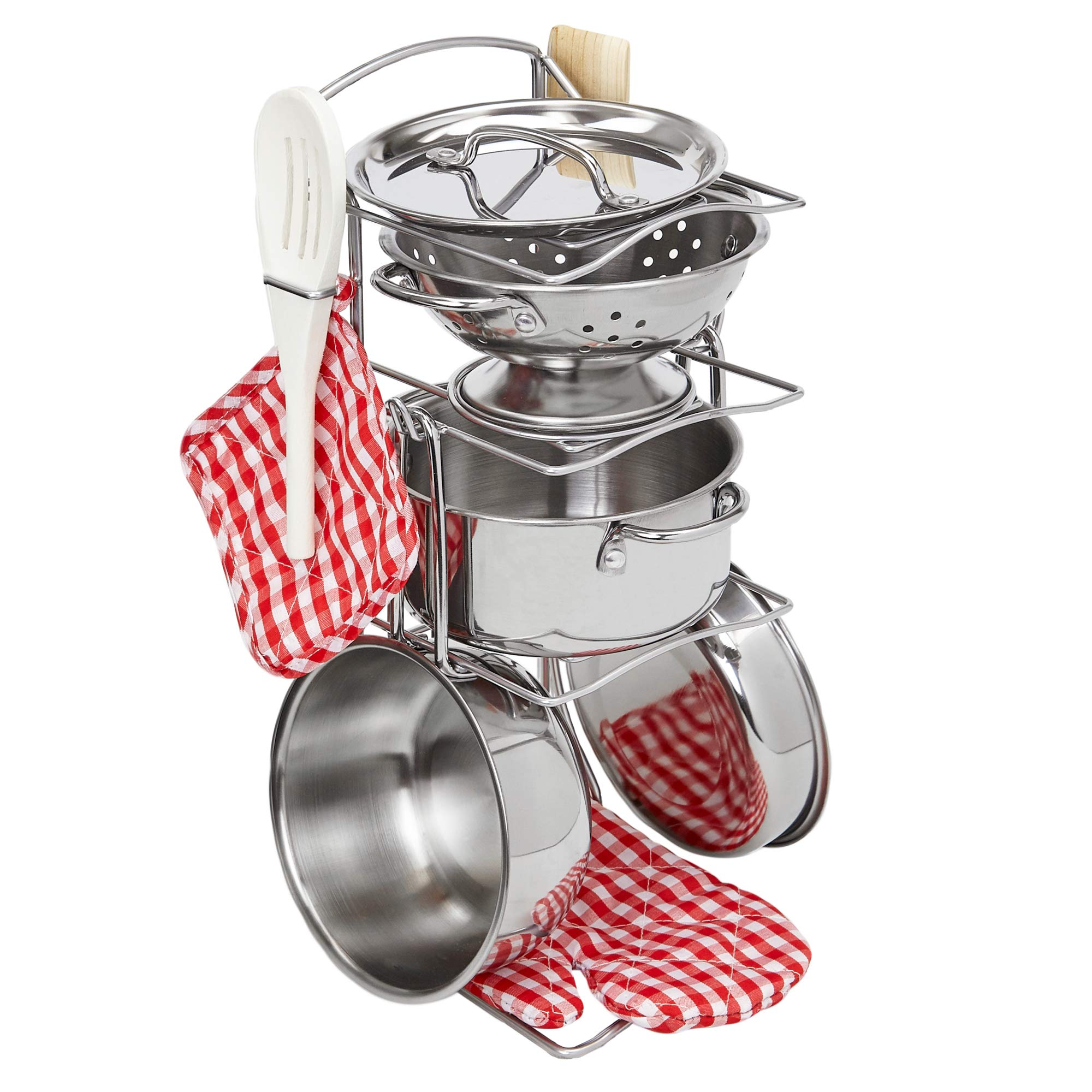 Giantville Toy Kitchen Play Set, 10 Piece Bundle - Stainless Steel Pots, Pans and Skillets, Wooden Spoons and Utensils, Pot Holders and Storage Caddy Rack by Giantville