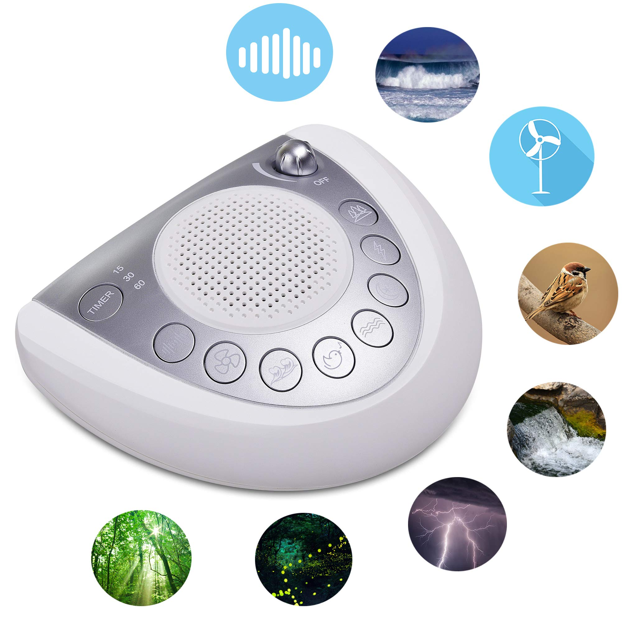 White Noise Sound Machine - Onlyee Sleep Therapy Spa Machine with 8 Soothing Natural Sounds for Sleeping, Battery or AC Powered, 3 Auto-Off Timer Option with 2 USB Charging Port, Headphone Jack