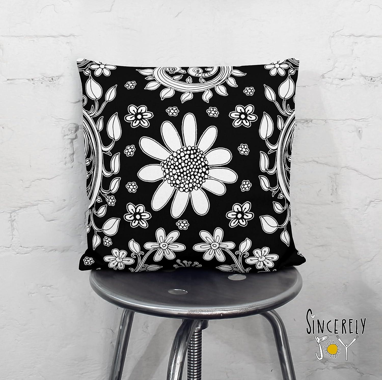 Amazon Com Black And White Floral Birds Throw Pillow Unique Decorative Art Cushion Home Decor Accessories Original By Mixed Media Artist C Cambrea Handmade