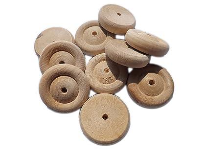 10 x 38 mm/3,81 cm de madera de abedul ruedas para juguetes/modelos ...