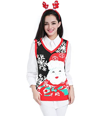 v28 christmas sweater women ugly girls vintage red knit merry xmas sweater vest x - Girls Christmas Sweater