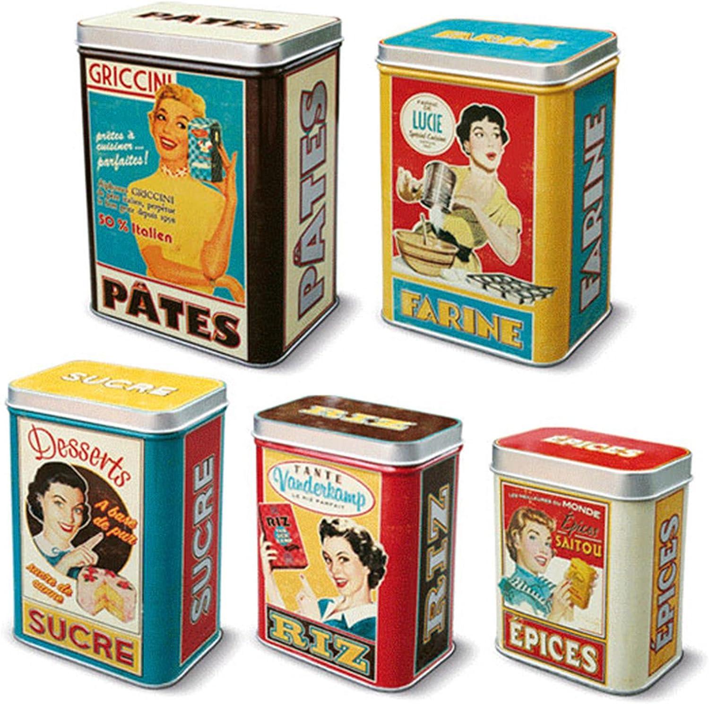 5 Cajas Metalicas Vintage para Especias Arroz Azúcar Harina y Pasta 211156 7071: Amazon.es: Bricolaje y herramientas