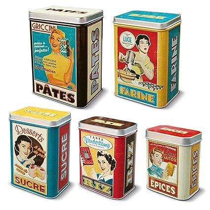 5 Cajas Metalicas Vintage para Especias Arroz Azúcar Harina y Pasta 211156 7071
