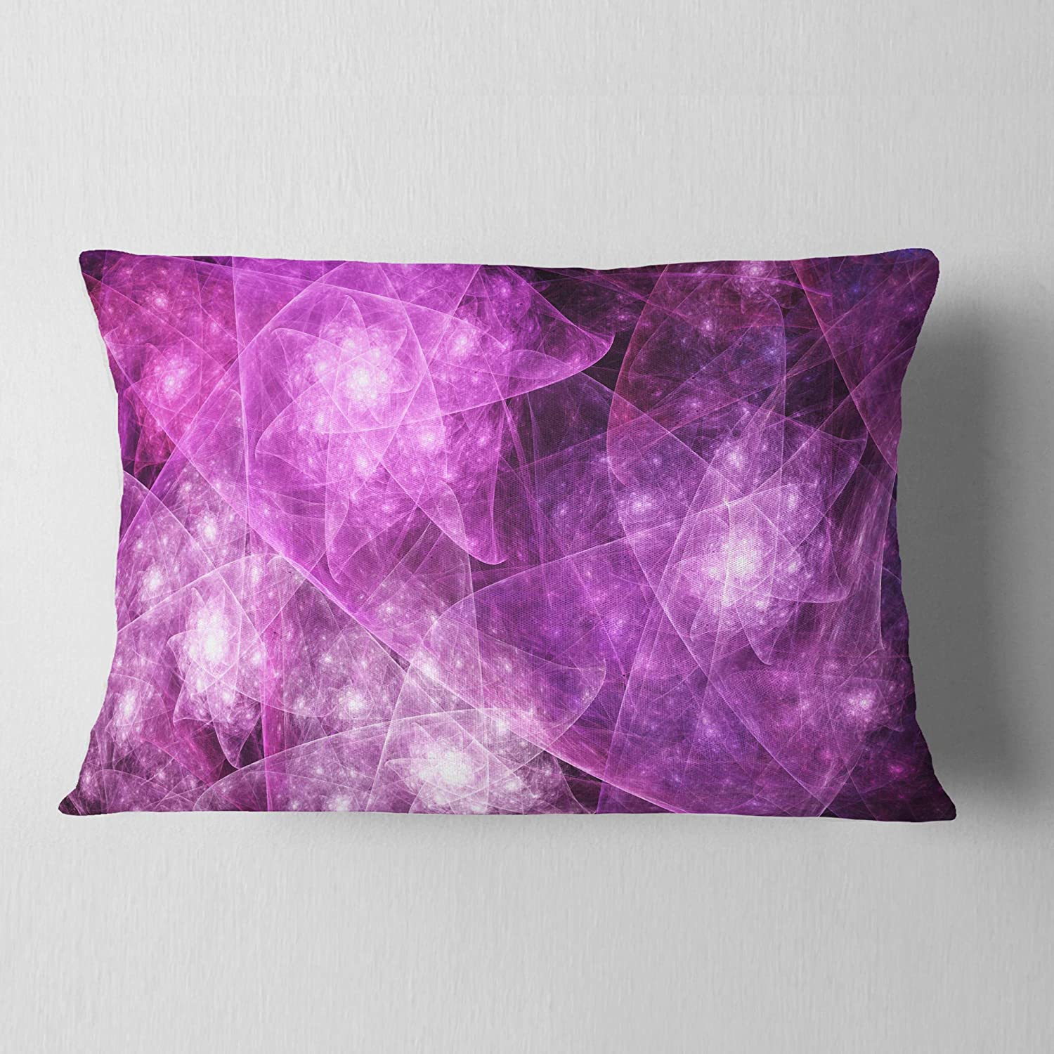 12 x 20 Insert Printed Sofa Throw Pillow Designart CU16341-12-20 Pink Rotating Polyhedron Abstract Lumbar Cushion Cover for Living Room