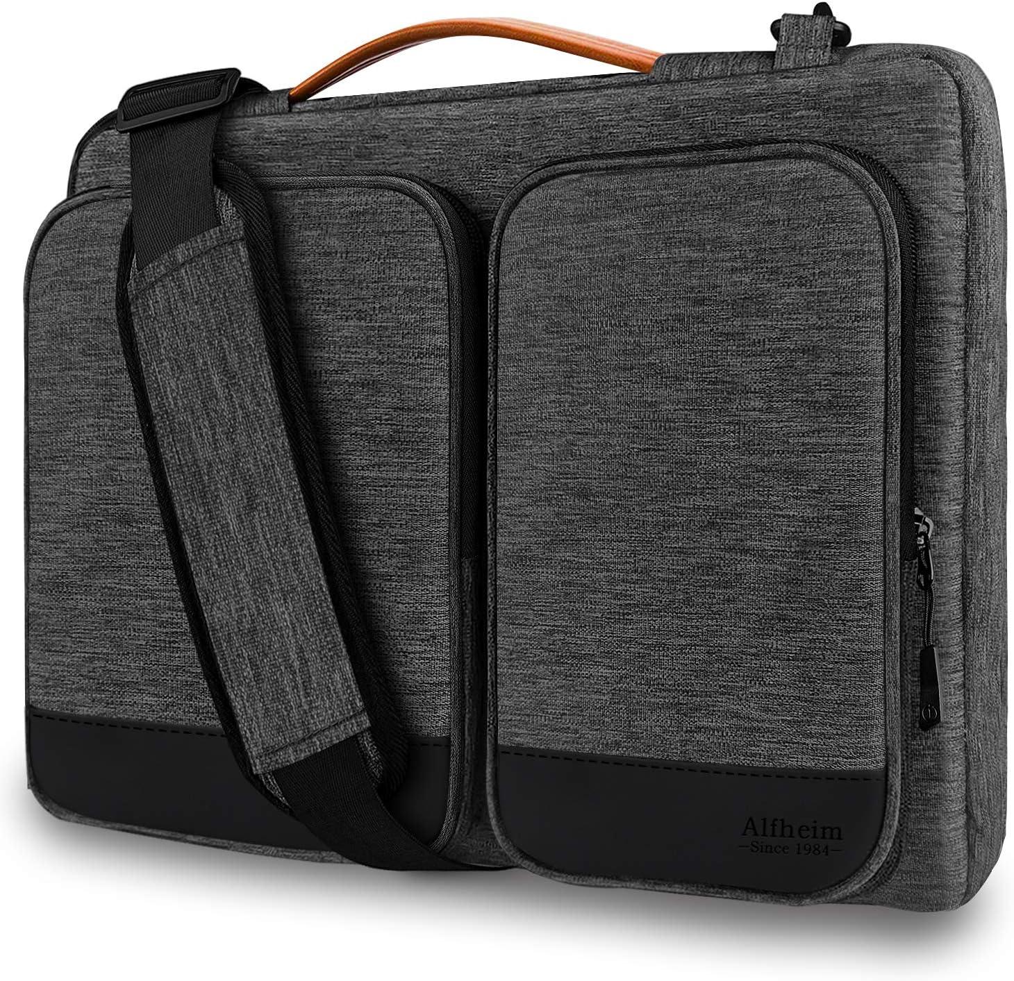 Alfheim 15.6-16 Pulgadas Funda para portátil Maletín, Impermeable Ligero Bolsa de Hombro, Protectora 360° Compatible con 15.6 Pulgadas Acer/DELL/ASUS/Thinkpad/Samsung (Gris Claro)