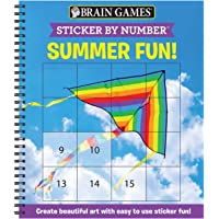 Brain Games - Sticker by Number: Summer Fun! (Easy - Square Stickers): Create Beautiful Art With Easy to Use Sticker Fun…