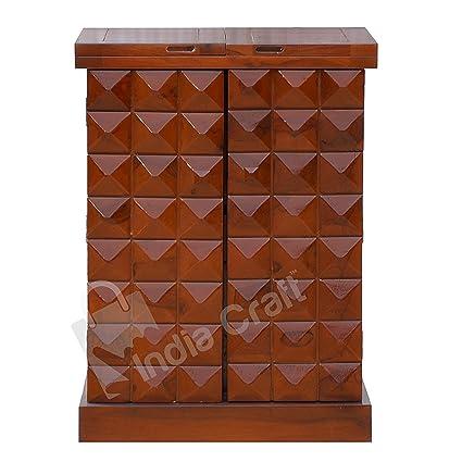 India Craft Pre-Assemble Sheesham Wood Stylish Bar Cabinet/Wine Rack/Beer Bar/with Wine Glass Storage- Living Room Furniture (Honey Finish)