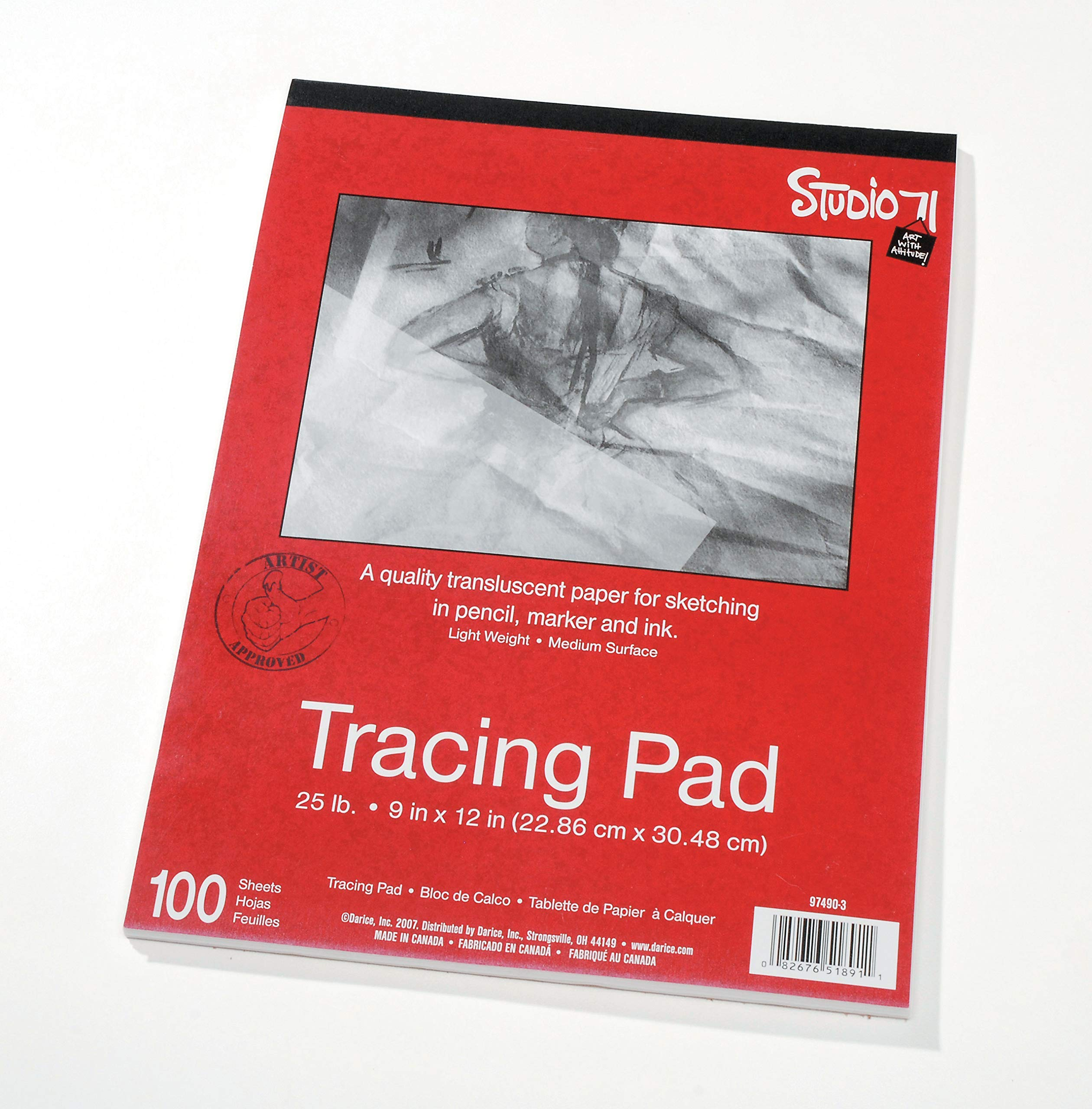 9''x12'' Artist's Tracing Paper, 100 Sheets - Translucent Tracing Paper for Pencil, Marker and Ink, Lightweight, Medium Surface (97490-3) - 10-Pack by Darice