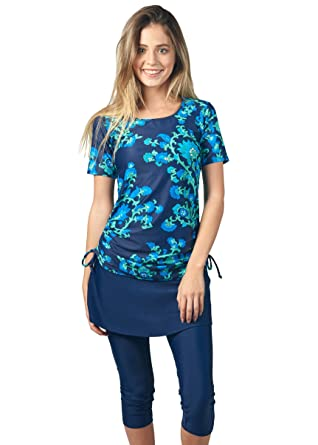 10704875ad5ac Image Unavailable. Image not available for. Color: Ella Mae Modest Swimsuit  for Women: Short Sleeve Rash Guard Swim Shirt ...