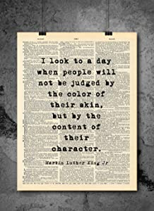 Martin Luther King MLK - Look To A Day When People Will Not Be Judged - Quote Vintage Art - Authentic Upcycled Dictionary Art Print - Home or Office Decor - Inspirational And Motivational Quote Art