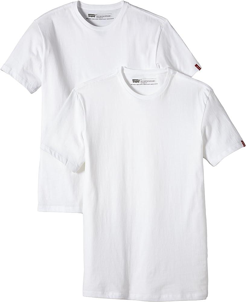 Levis 2 Pack Crew - Camiseta para Hombre, Blanco (White), XL: Amazon.es: Ropa y accesorios