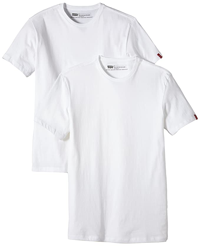 Levis 2 Pack Crew - Camiseta para Hombre, Blanco (White), XL ...