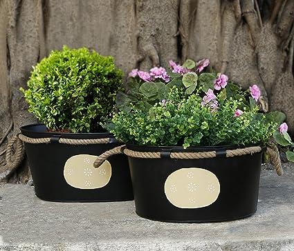 Conjunto de 2 Grandes macetas de Flores Negras con Mango de Cuerda de Yute. Soporte