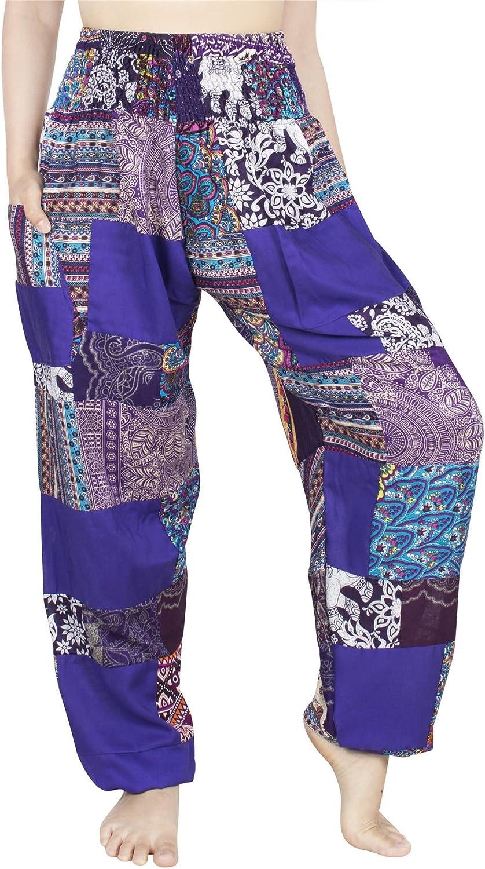 Lofbaz Womens Smocked Waist Floral Rayon Yoga Boho Patch Harem Pants