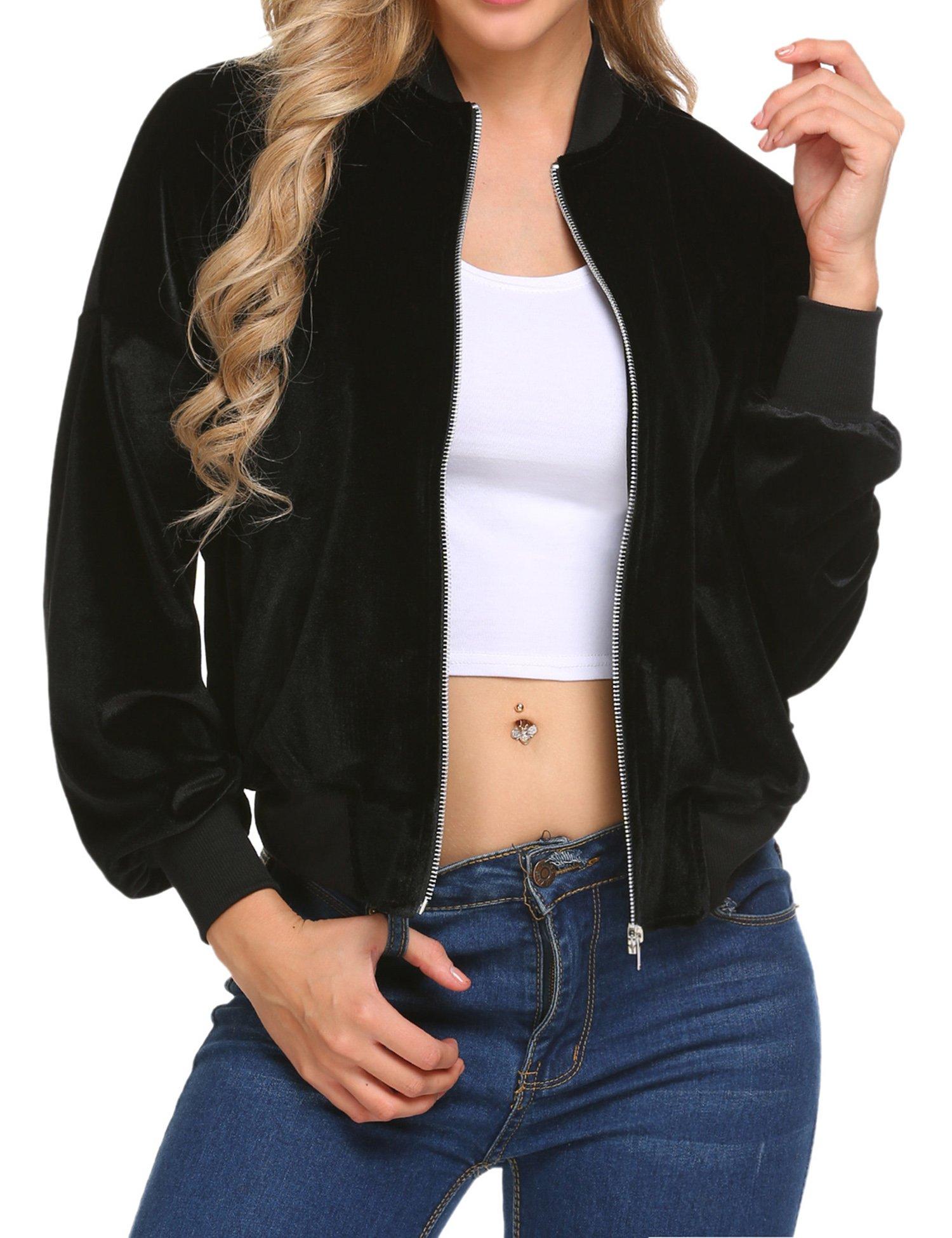 Beyove Women's Lightweight Velvet Coat Hooded Active Outdoor Windbreaker Jacket Black S by Beyove (Image #2)