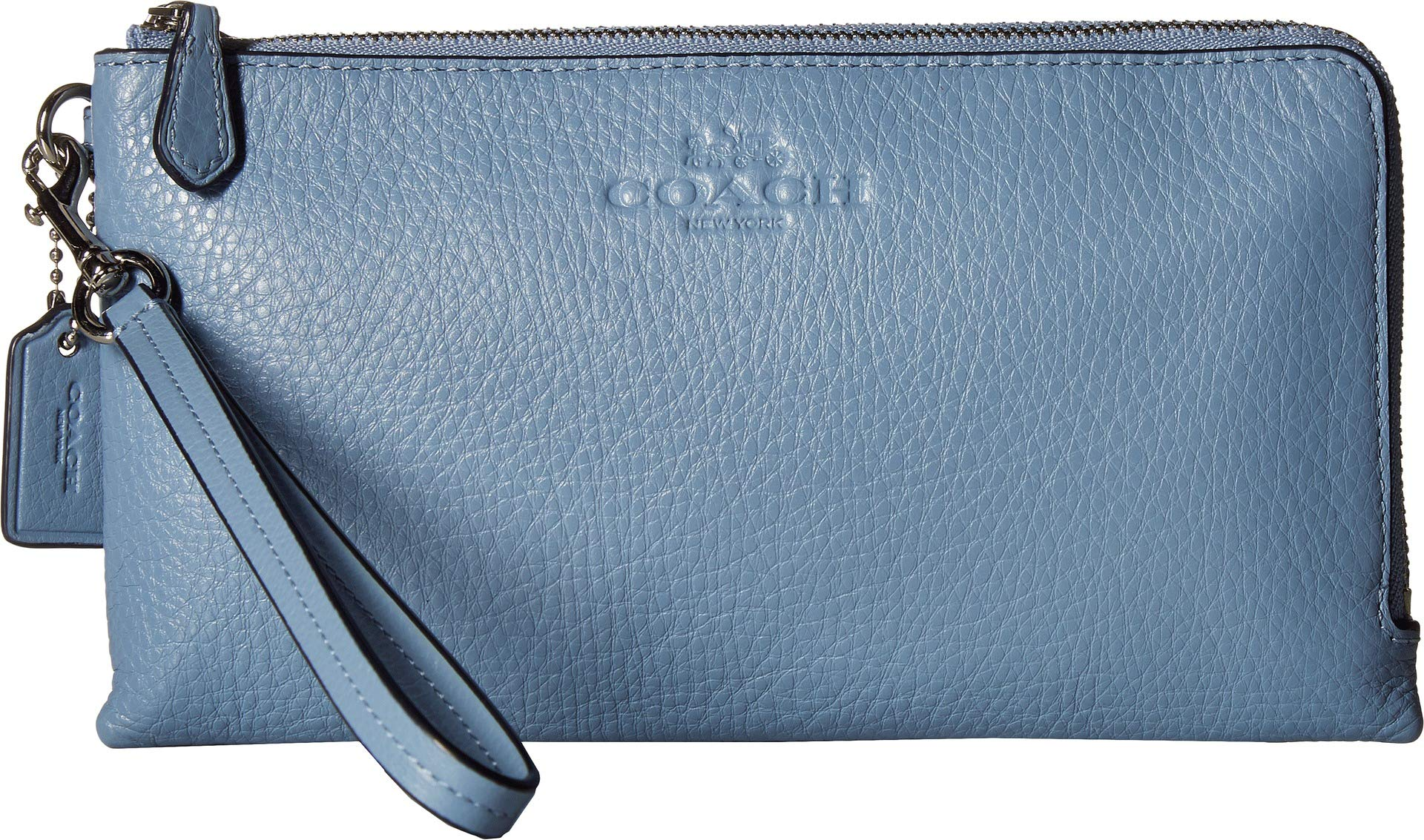 COACH Women's Pebbled Leather Double Zip Wallet Sv/Pool One Size by Coach