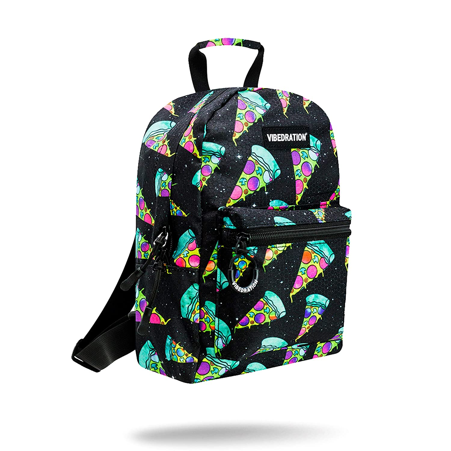 eef47bd40df1 Vibedration Mini Backpack | Casual Lightweight Daypack Purse for Women,  Girls, Boys, Men | Festival Fashion, Rave & Travel Accessories (Cosmic  Pizza)