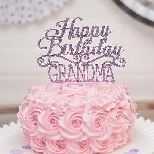 Amazon Purple Happy Birthday Grandma Cake Topper For Party