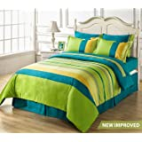 HighLife 120 TC 100% Ahmedabad Cotton Double Bedsheet with 2 Pillow Covers - All Blue/Green