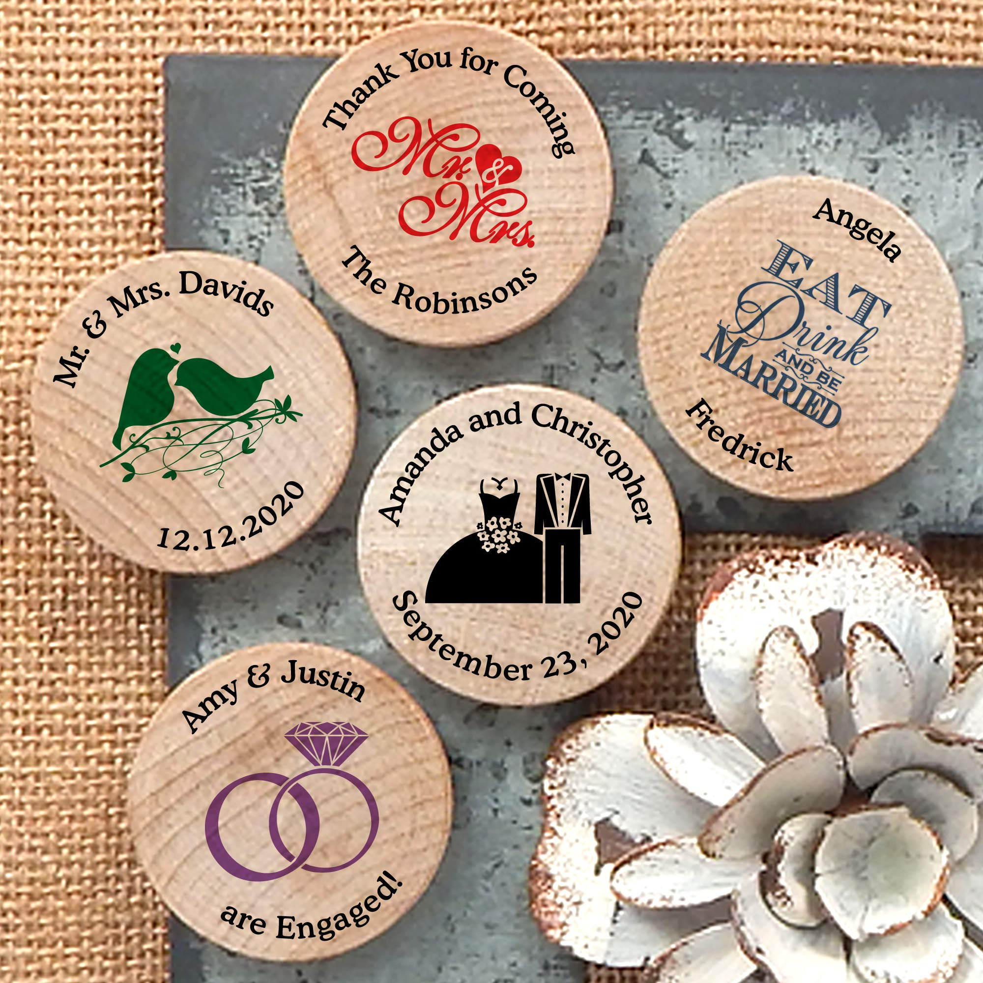 Personalized Wooden Wedding Magnets, Personalized Refrigerator Magnets, Save The Date Magnets (Set of 50) by Ducky Days