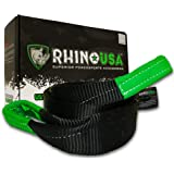 """Rhino USA Tree Saver Tow Strap 3"""" x 8' - Lab Tested 31,518lb Break Strength - Triple Reinforced Loop End to Ensure Peace of Mind - Emergency Off Road Recovery Rope - Unlimited!"""