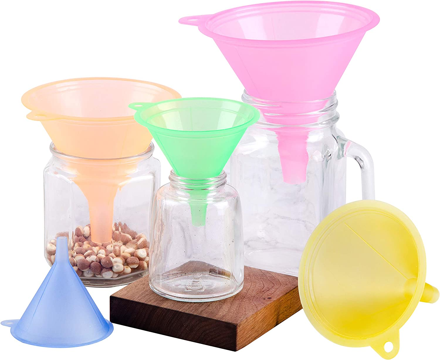 5 Sizes Mini Plastic Funnels Set with Narrow Spout, Candy Colors Multi-Purpose Kitchen Home Tools for a Variety of bottles, Easy Smooth Transfer and Liquids Dry Goods