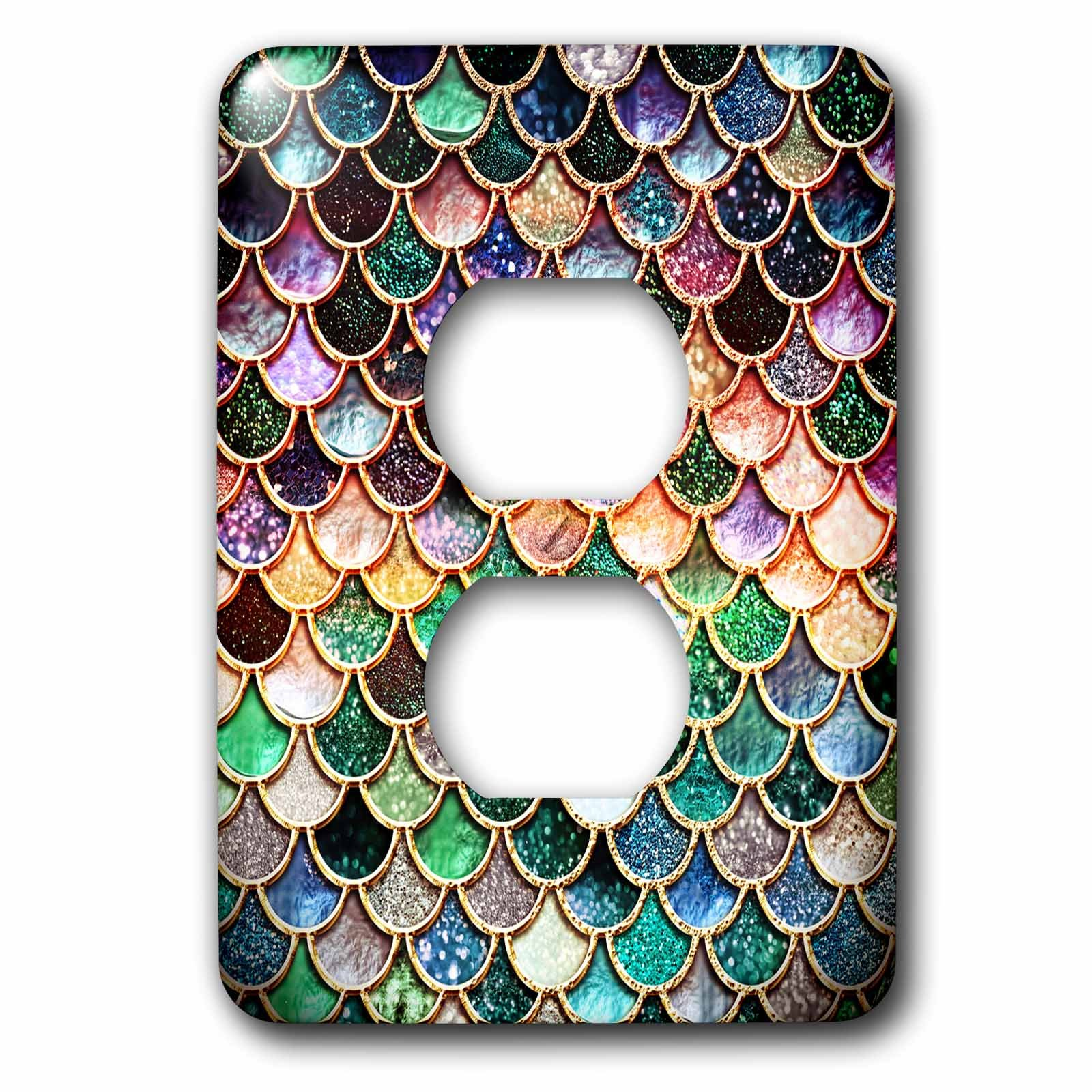 3dRose Uta Naumann Faux Glitter Pattern - Multicolor Girly Trend Pink Luxury Elegant Mermaid Scales Glitter - Light Switch Covers - 2 plug outlet cover (lsp_272865_6) by 3dRose (Image #1)