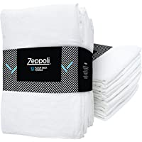 "Zeppoli 12-Pack Flour Sack Towels - 31"" X 31"" Kitchen Towels - Absorbent Dish Towels - 100% Ring-Spun Cotton Bar Towels"