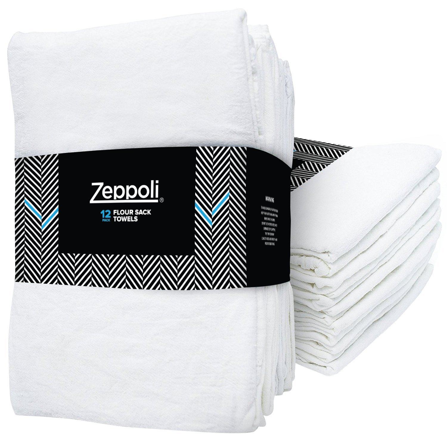 Zeppoli 12-Pack Flour Sack Towels - 31'' x 31'' Kitchen Towels - Absorbent White Dish Towels - 100% Ring Spun Cotton Bar Towels
