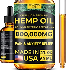 Premium Oil - 800,000 MG - Pain, Anxiety & Sleep Improvement - Skin, Hair, Brain and Mood Support - Made in The USA