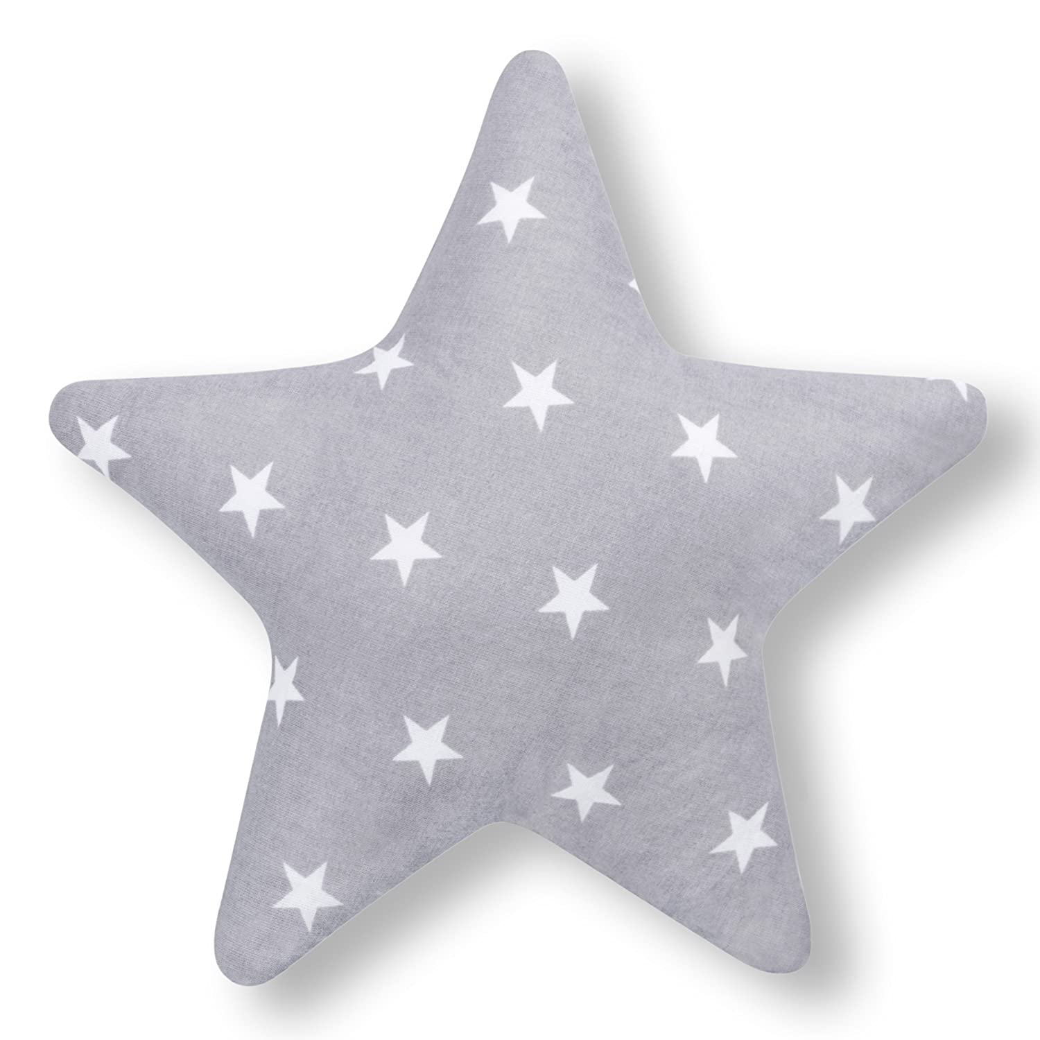 Amilian® Star Shaped Pillow Cushion Two Sided Fleece/100% Cotton Cosy Fluffy, Star Print Grey Approx 28 cm