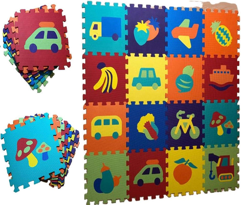 alfombra puzzle para bebe motivos de coche y frutas 16pcs 124x124cm
