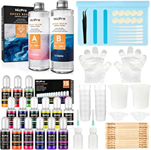 Nicpro 16 oz Epoxy Resin Kit Supplies with 15 Colors Liquid Resin Pigment Dye, Silicone Sticks,Mat, Measuring Cups, Gloves for Art, Crafts, Tumblers & Jewelry Making, Molds, Coating